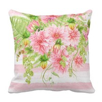 Watercolor Pink Peonies Greenery Pink Stripes Throw Pillow