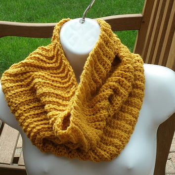 Hand Crochet Cowl - The Garter Cowl in Goldenrod
