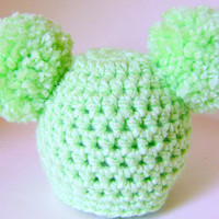 Handmade Crochet Newborn Baby Hat  With Big  Pom Poms On Each Side For Photo Prop