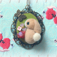 Handmade beige rabbit pendant necklace, needle felted bunny with butterfly necklace, lolita jewelry, whimsical jewelry, gift under 25