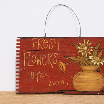 Wood Crate Sign Hand Painted  Wood Sign In Red Country Home Decor Fresh Flowers Sign Cottage Chic Decor Flowers Sign Distressed Wood Sign