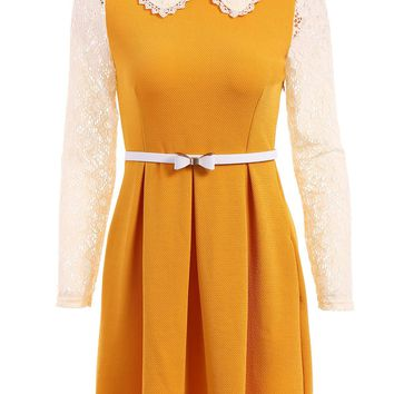 Lace Splicing Wide Hem Long Sleeve Peter Pan Collar Women's Dress