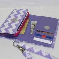 NEW STYLE TECH Cell Phone Case Wristlet iPhone Droid Wallet for Smart Phones / Purple Chevron