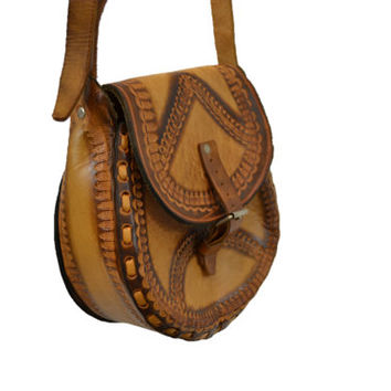 Boho Tooled leather handbag shoulder bag hipster casual indie rocker mexican festival summer grunge 90s IndieClothCo