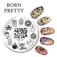 BORN PRETTY Nail Art Stamp Plate Template Coffee Time Design 5.5cm Round Image Nail Stamping Plate BP-91