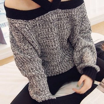 Gray V-Neck Long Sleeve Off Shoulder Sweater