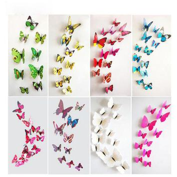DKF4S Keythemelife 12pcs PVC Fashion 3D Butterfly Wall Sticker Adesivo De Parede Art Decal Stickers Wall DIY Home Decoration DA