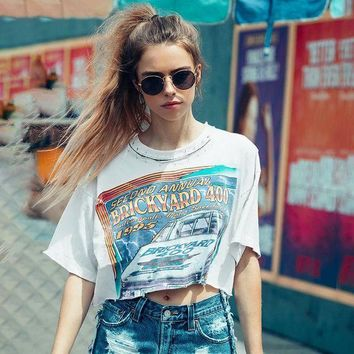 DCCKXT7 Women Personality Hollow Pin Collar Letter Pattern Print Loose Short Sleeve T-shirt Crop Tops