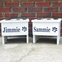 Cottage Country  Raised single Dog Bowl Stand   Personalized 12""