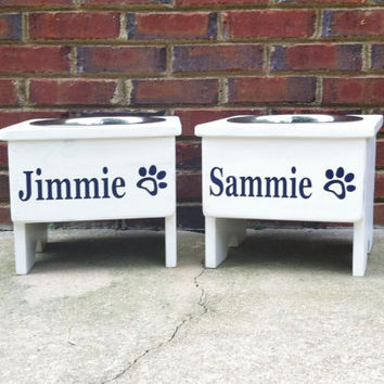 """Cottage Country  Raised single Dog Bowl Stand   Personalized 12"""""""