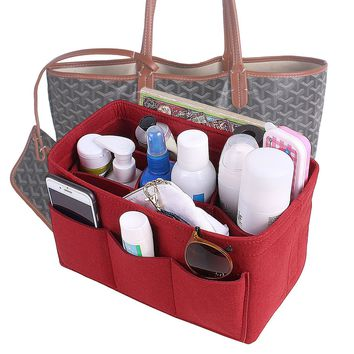 Felt Insert Purse Organizer, Multi Pocket Bag in Bag Organizer For Tote & Handbag Shaper 4 Color,3 Size Medium Large Extra Large