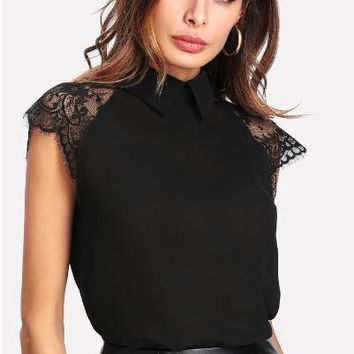 Black Floral Lace Cap Sleeve Blouse