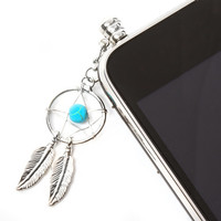Antique Silver and Turquoise Dream Catcher Cell Phone Plug