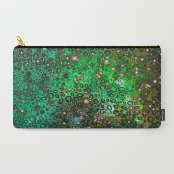 RAINBOW DOTTY OCEAN 3 Green Lime Ombre Space Galaxy Colorful Polka Dot Bubbles Abstract Painting Art Carry-All Pouch by EbiEmporium