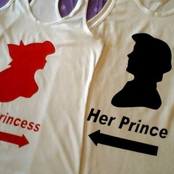 Free Two Day Shipping For US Ariel or Eric The Little Mermaid Prince and Princess Tank Top