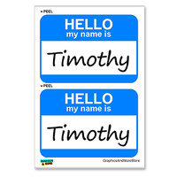 Timothy Hello My Name Is - Sheet of 2 Stickers