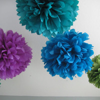 Peacock Feathers - 12 Tissue Paper Pom Pom Flower DIY Decor Kit