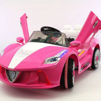 Ferrari Spider Style Kids Ride-On Car MP3 12V Battery Power Wheels R/C Parental Remote | Pink Pearl