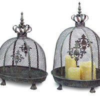 2 Candle Lanterns - Antique Gray, Green And Rust Patina