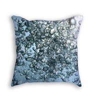 Underwater Silver Bubbles throw pillow
