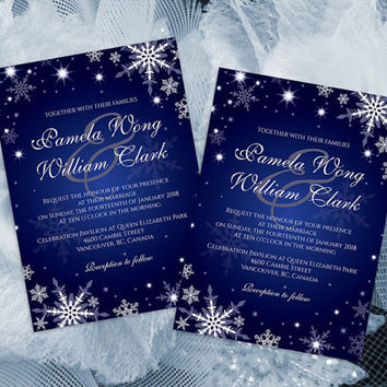 DIY Printable Wedding Invitation Card Template | Editable MS Word file | 5 x 7 | Instant Download | Winter White Snowflakes Royal Blue