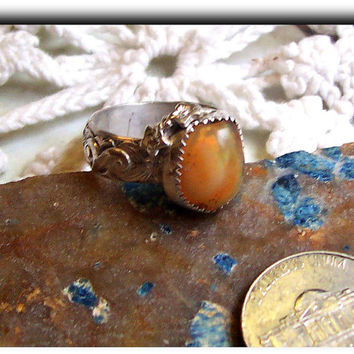 Handmade Custom Mexican Fire Opal Solid Sterling Ring with Fancy Flower Band - Will size to fit you