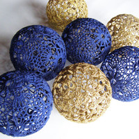 Party Lighting, Holiday Lights, Bedroom Decor lamps, Fairy Lights, String Lights, 20 Crocheted navy blue gold balls , garland light