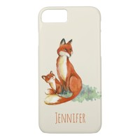 Momma Fox and Baby Watercolor Illustration Custom iPhone 8/7 Case