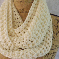 Ready To Ship Infinity Scarf Crochet Knit Ivory Winter White Women's Accessories Eternity Fall Winter