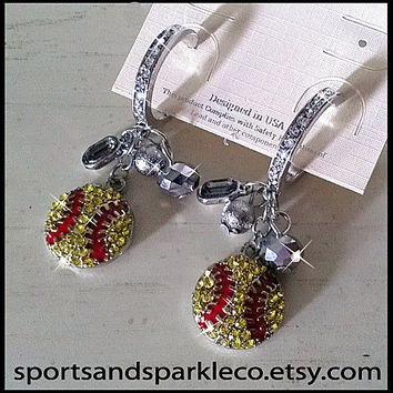 Rhinestone & Crystal Bling Softball Sports Dangle Earrings