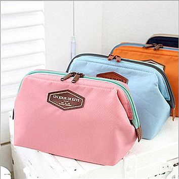 One-nice™ Cotton cosmetic bag Receive a bag of candy color portable steel cosmetic bag Orange Pink