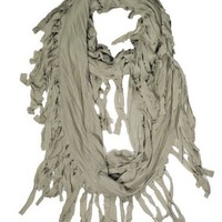 Fennco Fringed Infinity Loop Scarf for Men or Women - 6 Chic Colors Available - New (Sage, One Size)