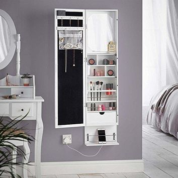 Beautify LED Wall and Door Mounted Mirrored Jewelry Armoire Cabinet Storage Organizer with Mirror and Drawers - White