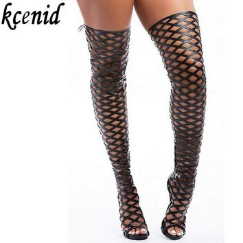 Kcenid summer dance women shoes high heel sexy women cage thigh high over the knee boo