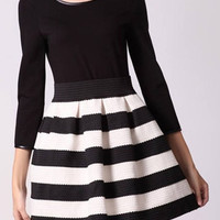 Black Long Sleeve Stripe Knitted Skater Dress