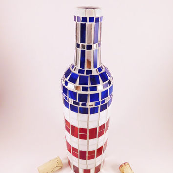 Patriotic wine bottle, Mosaic wine bottle, Red white and Blue,Stars and strips,Home decor,Wine enthusiast gift,Wine bottle