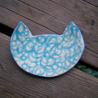 Tiny Turquoise Cat Plate - Ring Dish - Miniature Pottery - Ceramics and Pottery - Blue White and Turquoise
