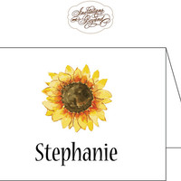 Sunflower Note Cards Stationery - Watercolor Sun Flower Design -Personalized Notecards