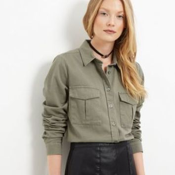 Tall Khaki Double Pocket Shirt