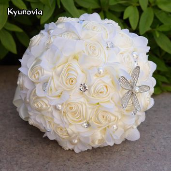 Kyunovia Ivory Ocean Beach theme Bridal Bouquets Starfish Pearl Wedding Brooch Bouquet Artificial Satin Rose Bride Bouquet FE62
