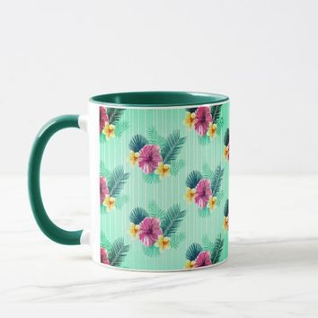 Cool blue base with pink floral texture mug