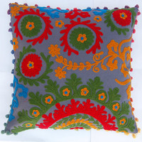 Suzani Cushion Covers Woolen Embroidered Pillow Cases Indian Art Uzbekistan Style Decorative Pillow Cases with Pom Poms 16 x 16 High Fashion