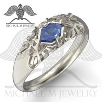 Legend Hyrule Crest Blue RUPEE .925 or 14k rose gold or 14k white yellow gold, custommade, handmade ***Made to Order - 119 - Michael M Jewelry