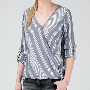 ANGL | Hamptons Stripe Crossover Blouse