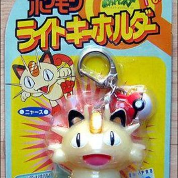 Pokemon Meowth Nyaasu With Pokeball Light Up Keychain Toy Figure by Tomy RARE!!!
