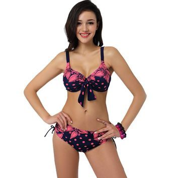 Latest Plus Size Bikini Swimwear Women Sexy Beach Low Waist Vintage Girls Party Swimsuit with Center Bow Print Bikinis
