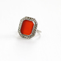 Vintage Art Deco Sterling Silver Carnelian & Marcasite Ring - 1930s Size 5 Statement Red Rectangular Gem Shield Filigree Embossed Jewelry