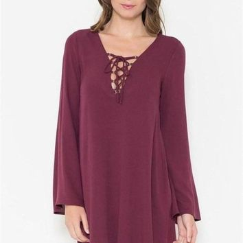Just a Crush Lace up Dress in Plum - !