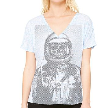 Ames Bros Women's Deep Space Flowy Simple V-Neck Tee