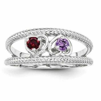 Sterling Silver Synthetic Mother's Custom Ring W/ 14k Two Birthstone in Heart Shaped Mount